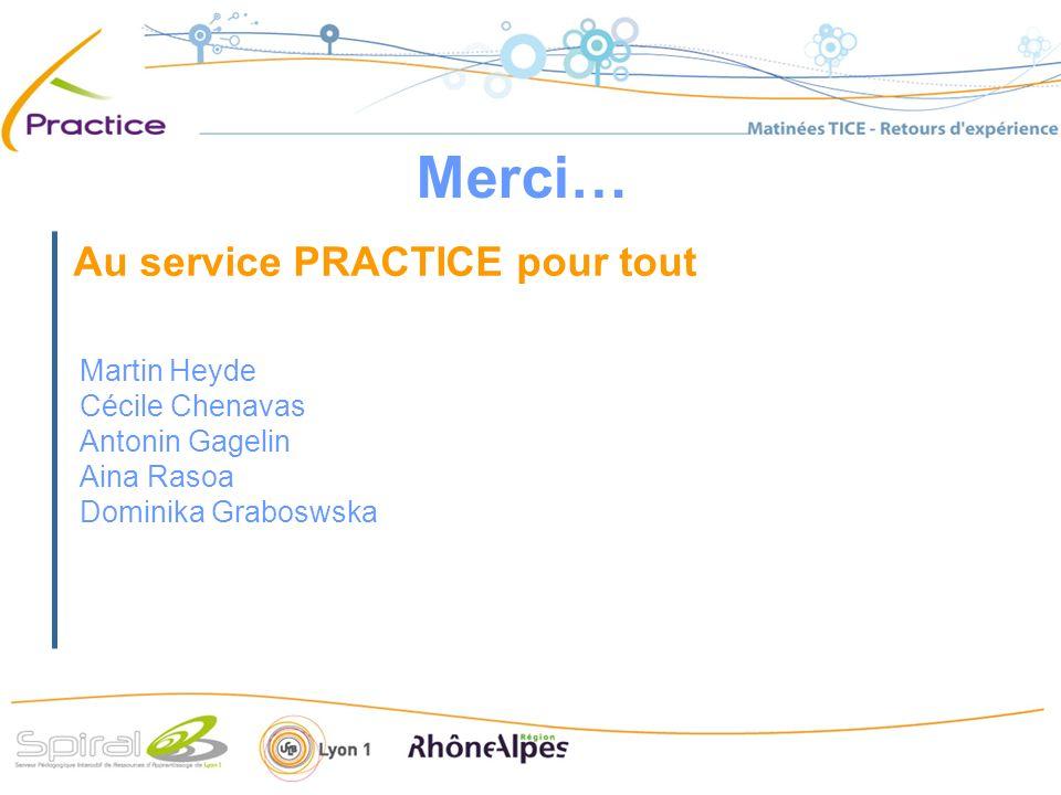 Au service PRACTICE pour tout Merci… Martin Heyde Cécile Chenavas Antonin Gagelin Aina Rasoa Dominika Graboswska