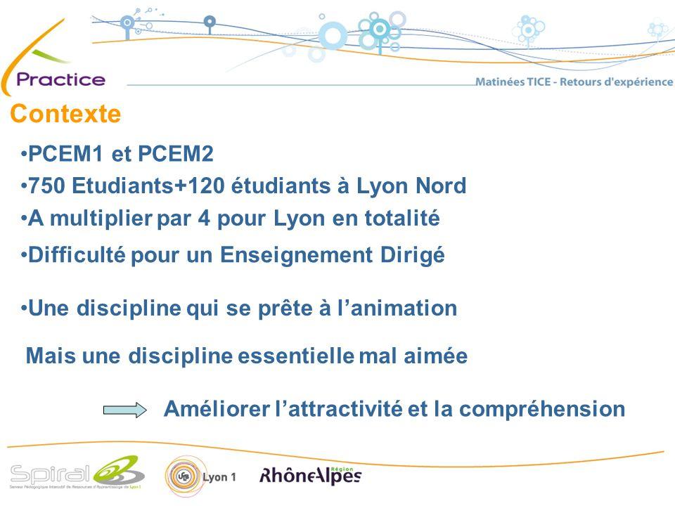 Contexte 750 Etudiants+120 étudiants à Lyon Nord A multiplier par 4 pour Lyon en totalité PCEM1 et PCEM2 Une discipline qui se prête à lanimation Difficulté pour un Enseignement Dirigé Mais une discipline essentielle mal aimée Améliorer lattractivité et la compréhension