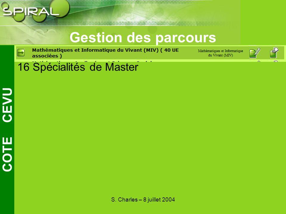 S. Charles – 8 juillet 2004 Gestion des parcours COTE CEVU 34 Parcours de Licence 16 Spécialités de Master