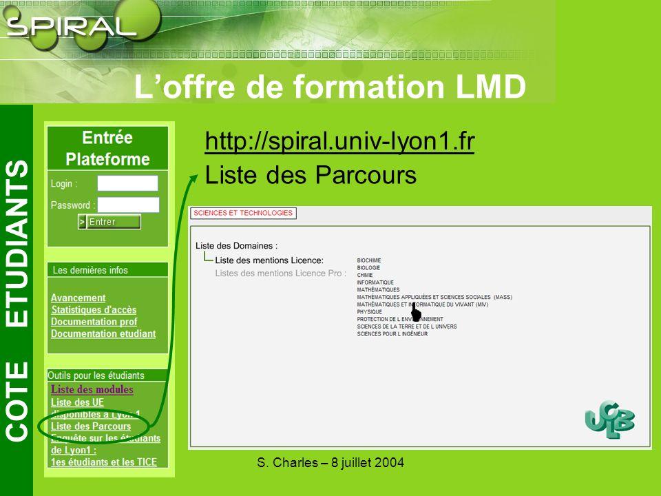S. Charles – 8 juillet 2004 Loffre de formation LMD COTE ETUDIANTS http://spiral.univ-lyon1.fr Liste des Parcours