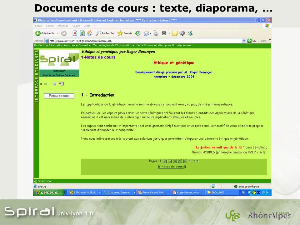 Documents de cours : texte, diaporama, …