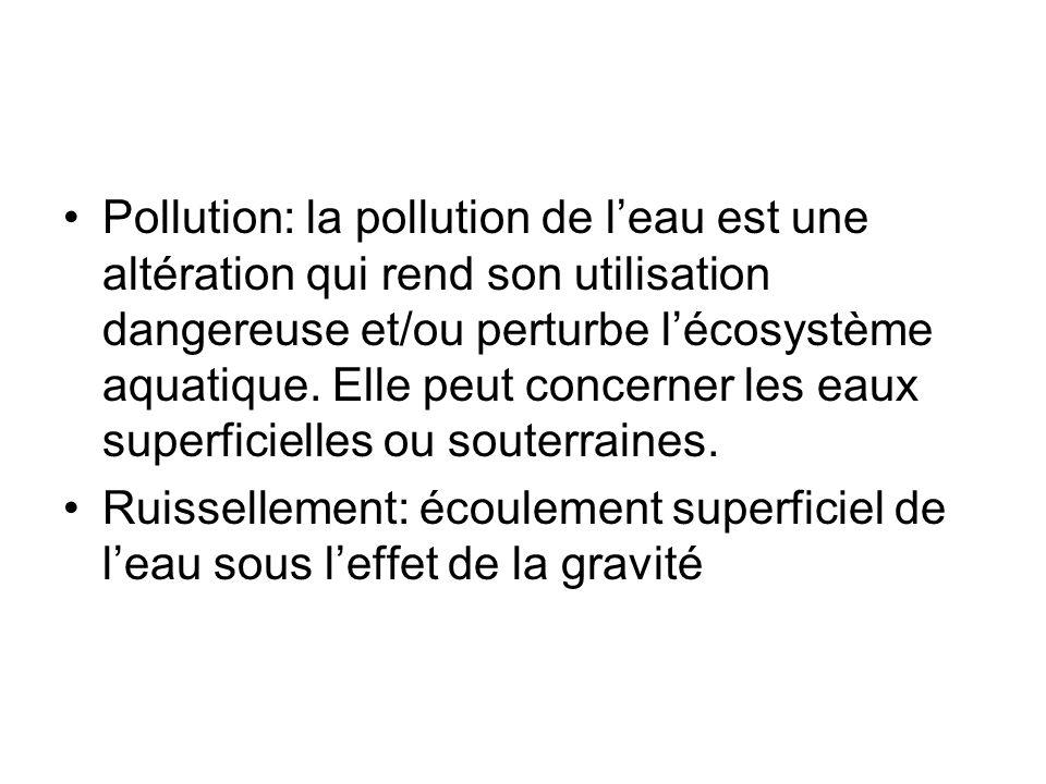 Pollution: la pollution de leau est une altération qui rend son utilisation dangereuse et/ou perturbe lécosystème aquatique. Elle peut concerner les e