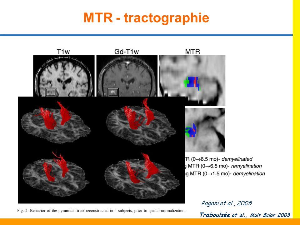 MTR - tractographie Traboulsée et al., Mult Scler 2003 Pagani et al., 2005