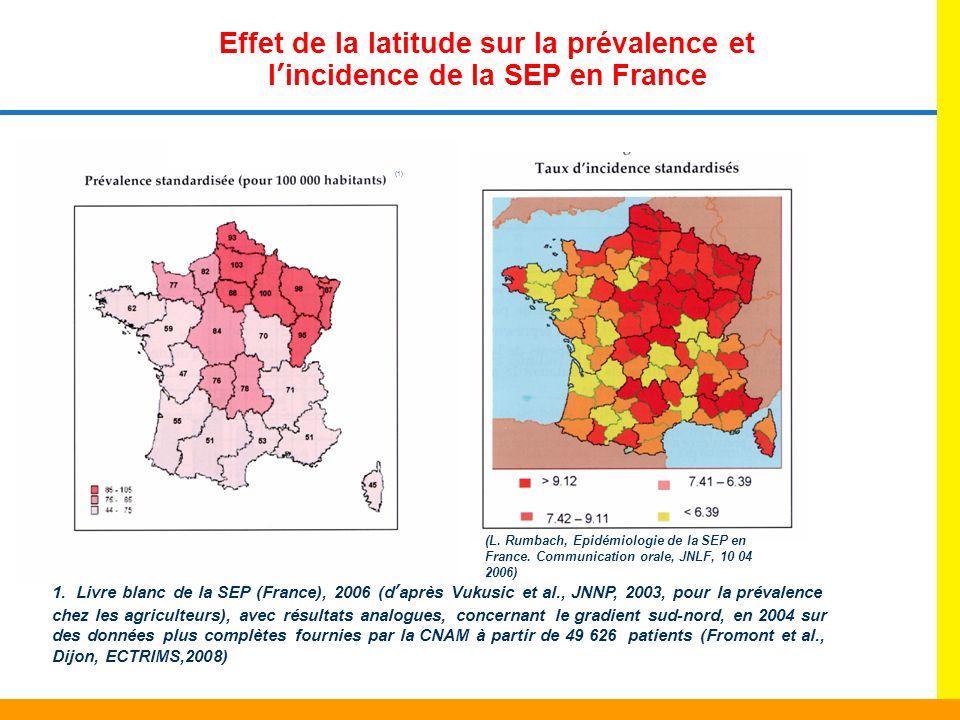 Effet de la latitude sur la prévalence et lincidence de la SEP en France 1. Livre blanc de la SEP (France), 2006 (daprès Vukusic et al., JNNP, 2003, p