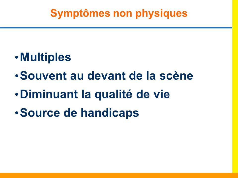 Symptômes non physiques Multiples Souvent au devant de la scène Diminuant la qualité de vie Source de handicaps