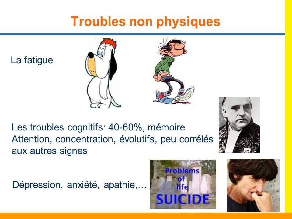 Troubles non physiques La fatigue Les troubles cognitifs: 40-60%, mémoire Attention, concentration, évolutifs, peu corrélés aux autres signes Dépressi