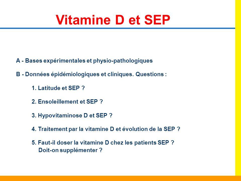 Vitamine D et SEP A - Bases expérimentales et physio-pathologiques B - Données épidémiologiques et cliniques. Questions : 1. Latitude et SEP ? 2. Enso