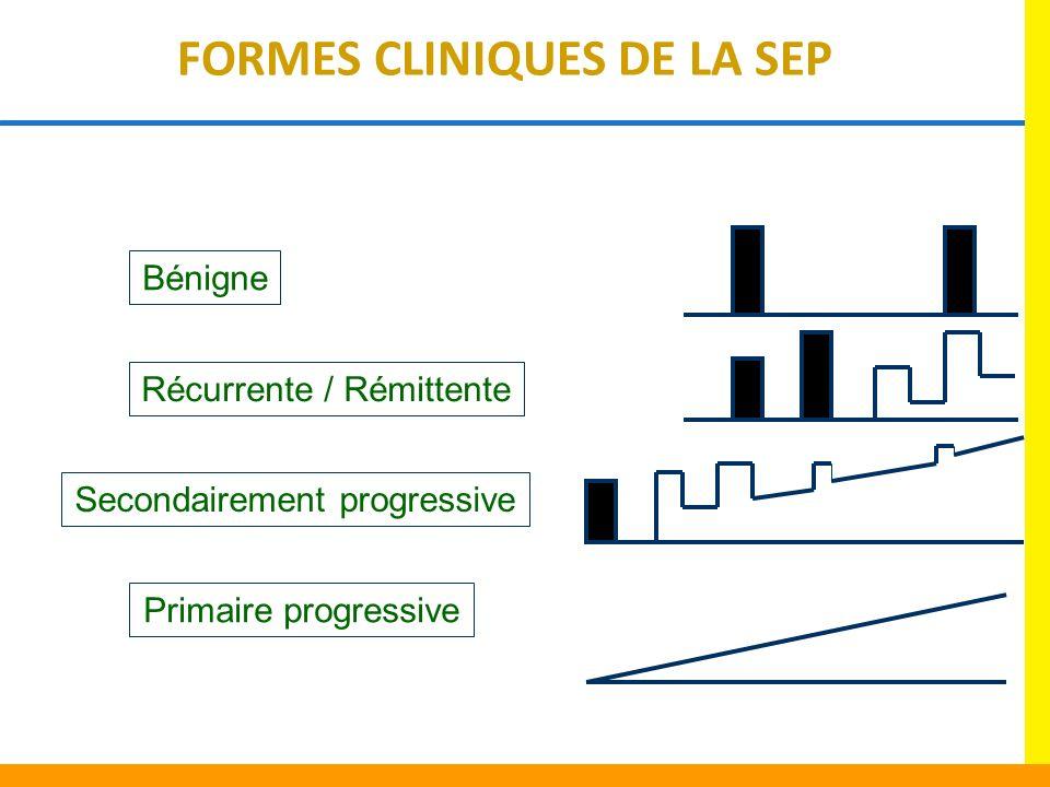 Primaire progressive Secondairement progressive Récurrente / Rémittente Bénigne FORMES CLINIQUES DE LA SEP
