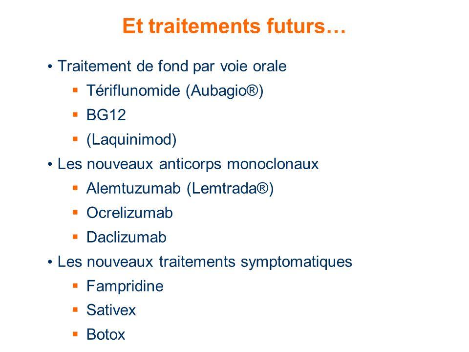 Et traitements futurs… Traitement de fond par voie orale Tériflunomide (Aubagio®) BG12 (Laquinimod) Les nouveaux anticorps monoclonaux Alemtuzumab (Le