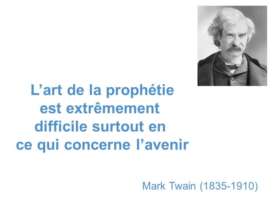 Lart de la prophétie est extrêmement difficile surtout en ce qui concerne lavenir Mark Twain (1835-1910)