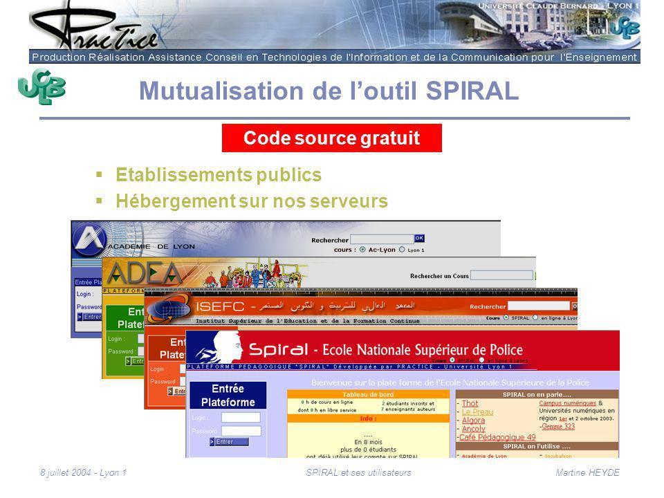 Martine HEYDE8 juillet 2004 - Lyon 1SPIRAL et ses utilisateurs Mutualisation de loutil SPIRAL Etablissements publics Hébergement sur nos serveurs Code source gratuit