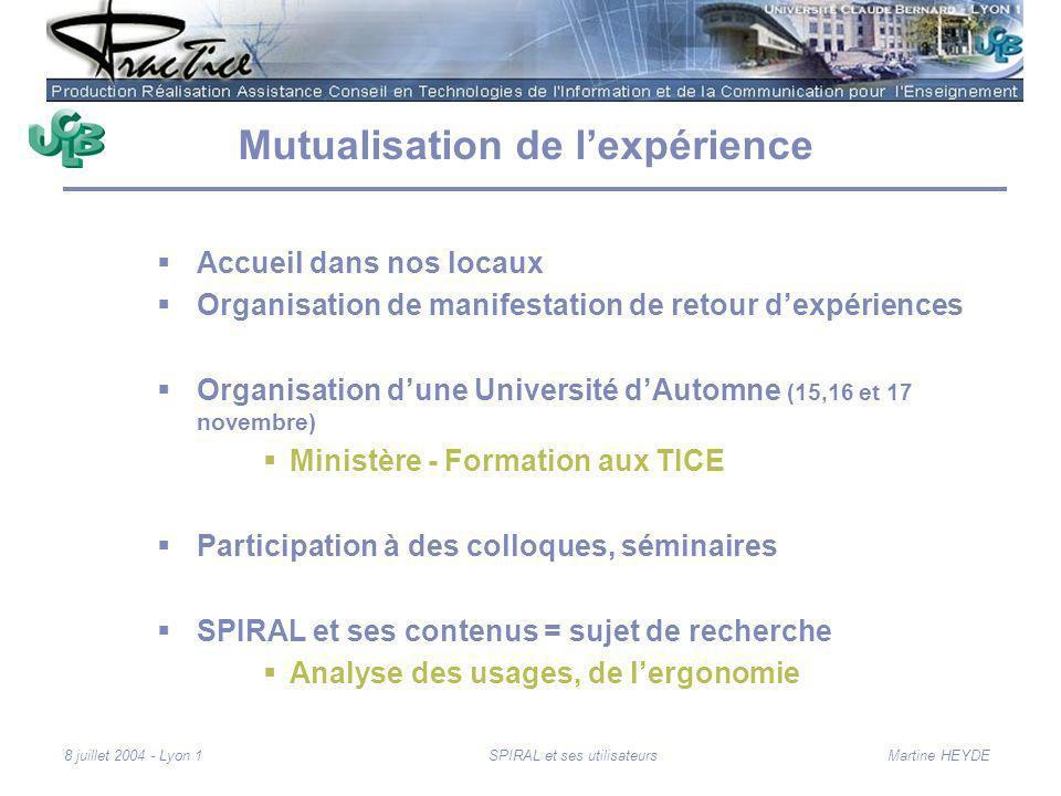 Martine HEYDE8 juillet 2004 - Lyon 1SPIRAL et ses utilisateurs Mutualisation de lexpérience Accueil dans nos locaux Organisation de manifestation de r