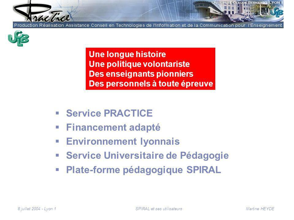 Martine HEYDE8 juillet 2004 - Lyon 1SPIRAL et ses utilisateurs Contexte de Lyon 1 Sciences et Santé 2 091 enseignants et enseignants chercheurs 28 030 étudiants 7 sites sur Lyon Mise en place du LMD http://www.univ-lyon1.fr/ Les TICE : une priorité