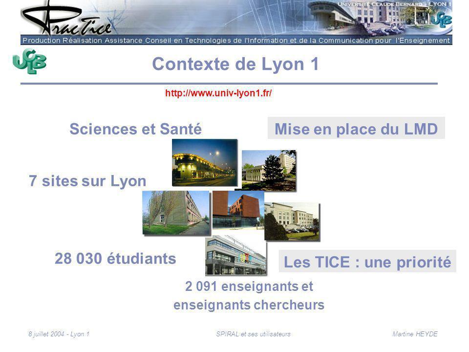 Martine HEYDE8 juillet 2004 - Lyon 1SPIRAL et ses utilisateurs Contexte de Lyon 1 Sciences et Santé 2 091 enseignants et enseignants chercheurs 28 030