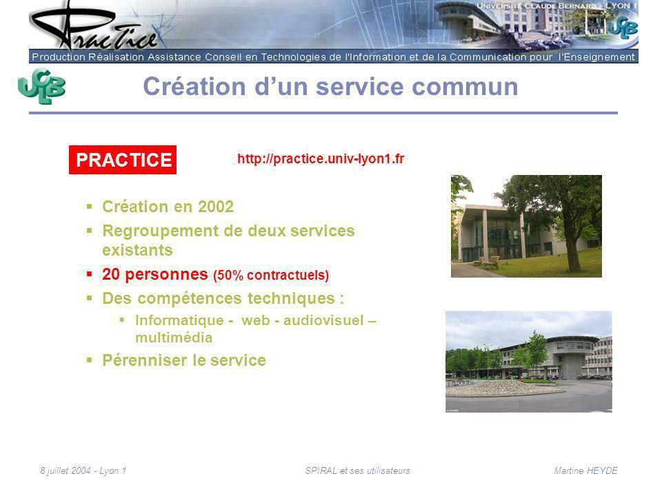 Martine HEYDE8 juillet 2004 - Lyon 1SPIRAL et ses utilisateurs Création dun service commun Création en 2002 Regroupement de deux services existants 20