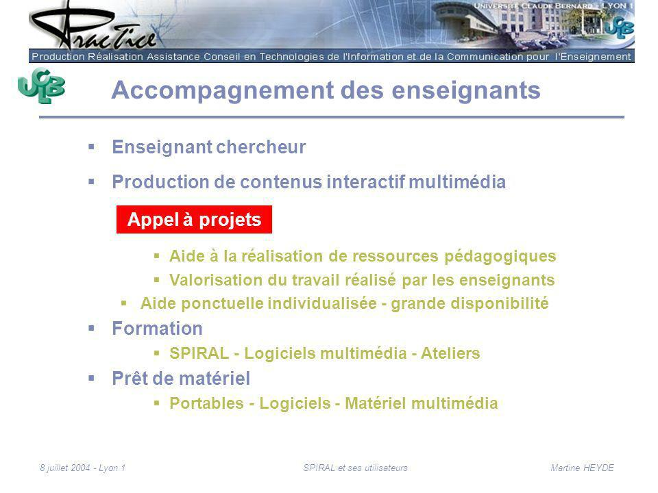 Martine HEYDE8 juillet 2004 - Lyon 1SPIRAL et ses utilisateurs Accompagnement des enseignants Enseignant chercheur Production de contenus interactif m