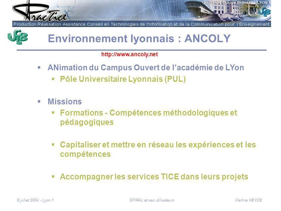 Martine HEYDE8 juillet 2004 - Lyon 1SPIRAL et ses utilisateurs Environnement lyonnais : ANCOLY ANimation du Campus Ouvert de lacadémie de LYon Pôle Un
