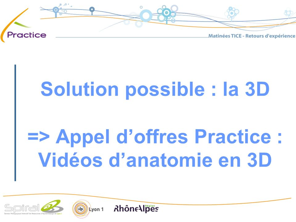Solution possible : la 3D => Appel doffres Practice : Vidéos danatomie en 3D