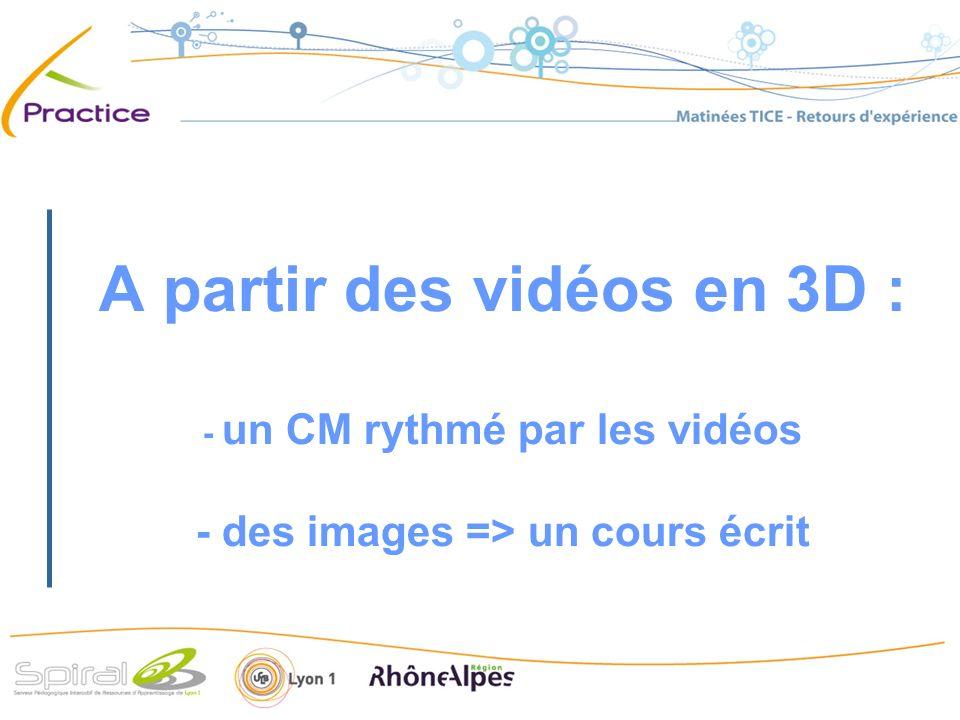 A partir des vidéos en 3D : - un CM rythmé par les vidéos - des images => un cours écrit