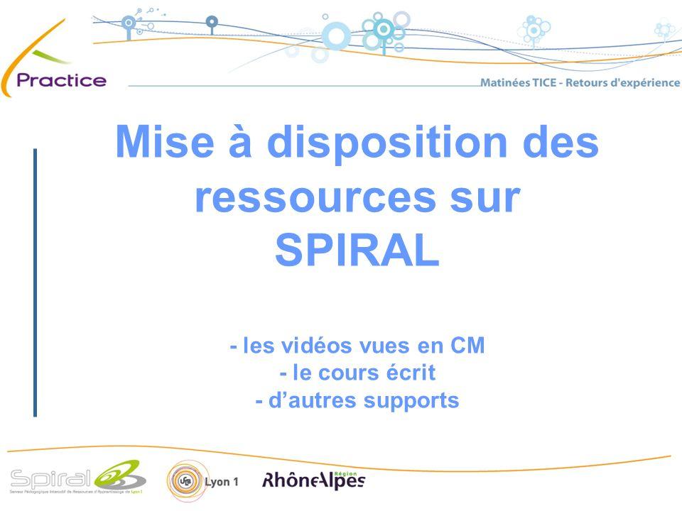 Mise à disposition des ressources sur SPIRAL - les vidéos vues en CM - le cours écrit - dautres supports