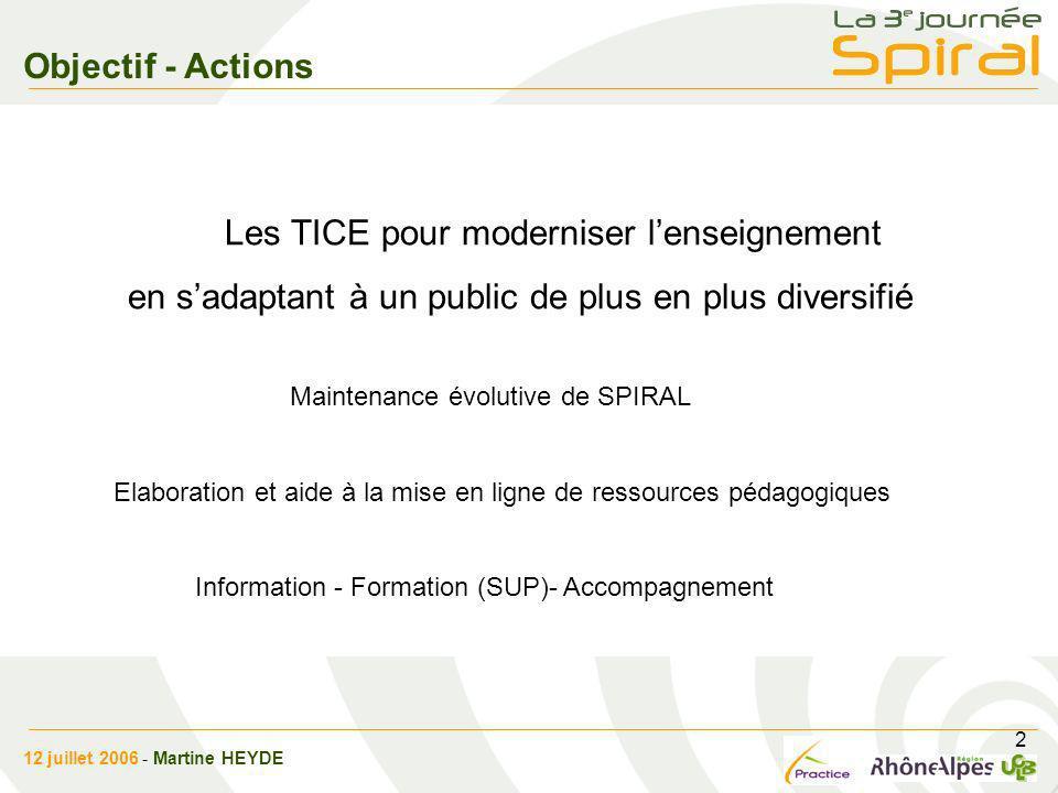 2 Objectif - Actions Les TICE pour moderniser lenseignement en sadaptant à un public de plus en plus diversifié Maintenance évolutive de SPIRAL Elabor