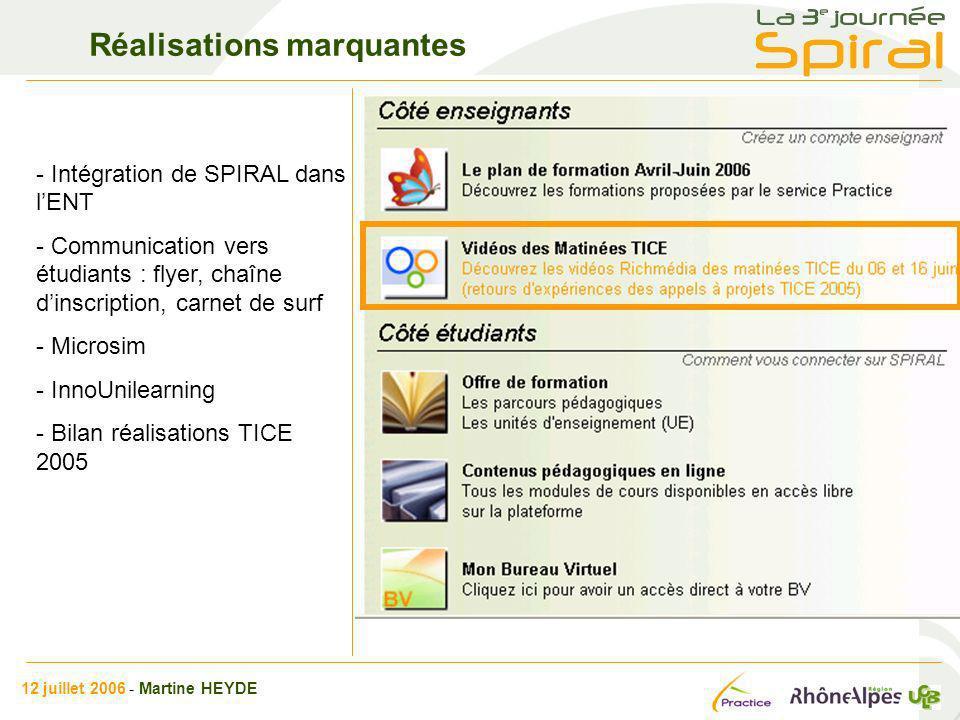 Réalisations marquantes - Intégration de SPIRAL dans lENT - Communication vers étudiants : flyer, chaîne dinscription, carnet de surf - Microsim - Inn