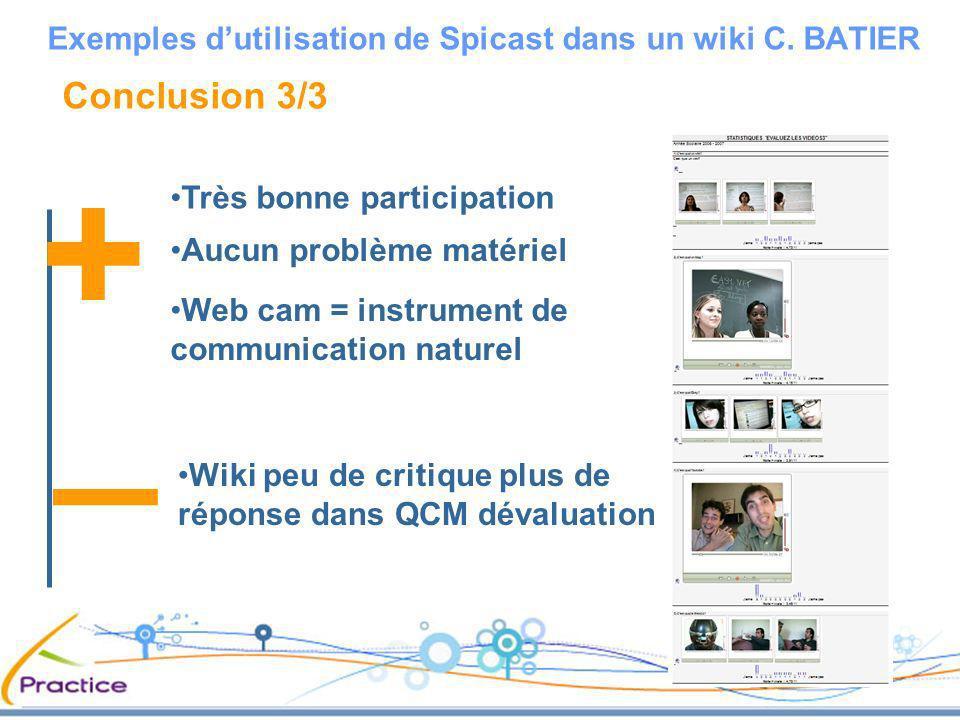 Conclusion 3/3 Très bonne participation Exemples dutilisation de Spicast dans un wiki C. BATIER Aucun problème matériel Web cam = instrument de commun
