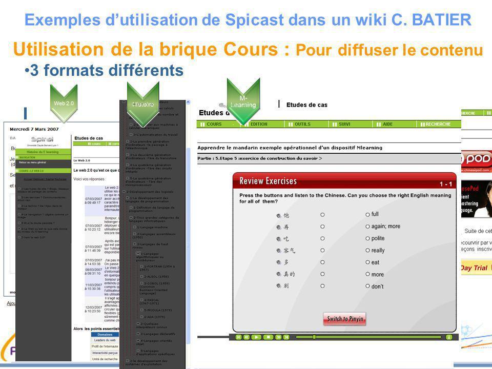 Utilisation de la brique Cours : Pour diffuser le contenu 3 formats différents Exemples dutilisation de Spicast dans un wiki C. BATIER