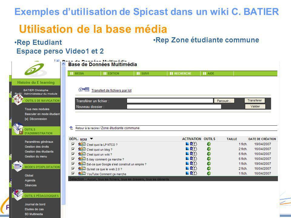 Utilisation de la base média Rep Etudiant Espace perso Video1 et 2 Exemples dutilisation de Spicast dans un wiki C. BATIER Rep Zone étudiante commune