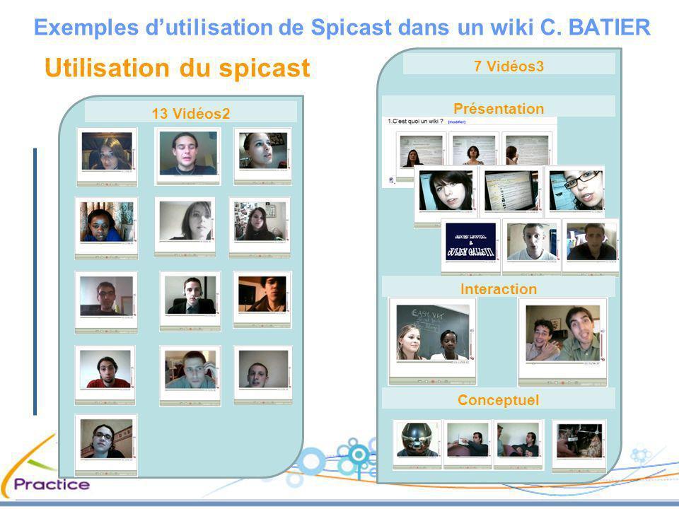 7 Vidéos3 Utilisation du spicast Exemples dutilisation de Spicast dans un wiki C. BATIER 13 Vidéos2 Présentation Interaction Conceptuel