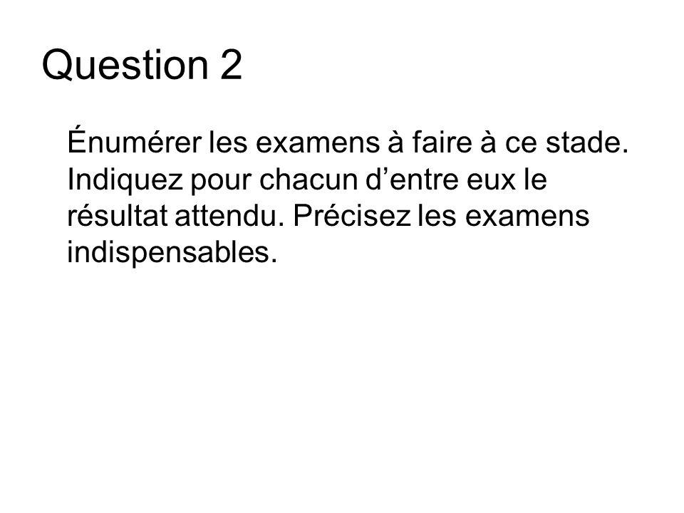 Question 2 Énumérer les examens à faire à ce stade. Indiquez pour chacun dentre eux le résultat attendu. Précisez les examens indispensables.