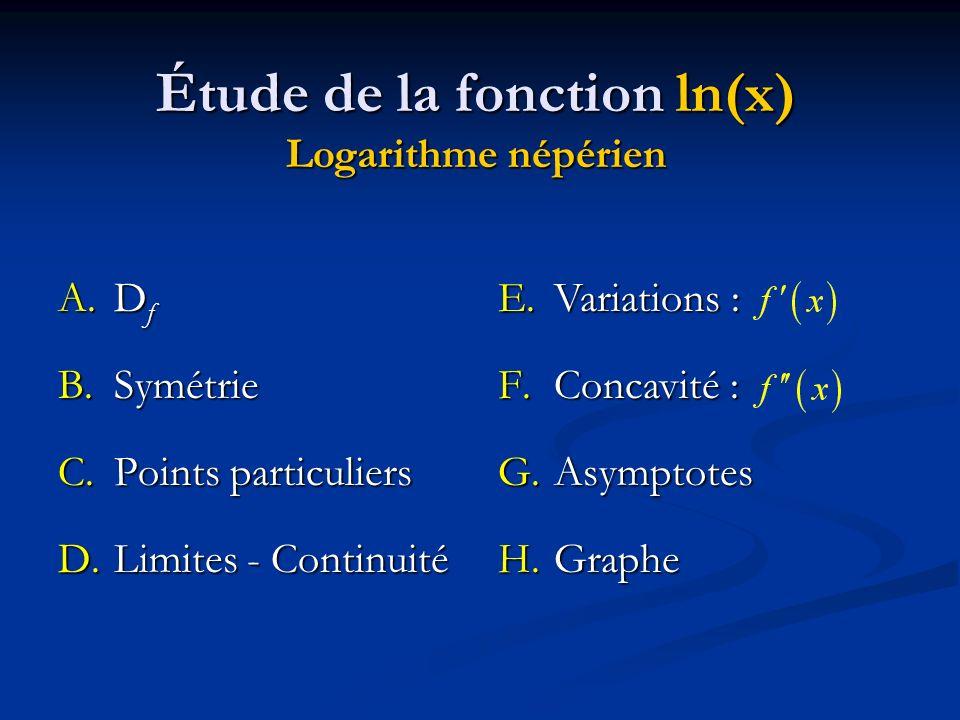 E.Variations : F.Concavité : G.Asymptotes H.Graphe Étude de la fonction ln(x) Logarithme népérien A.D f B.Symétrie C.Points particuliers D.Limites - C