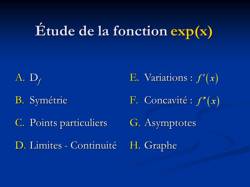 E.Variations : F.Concavité : G.Asymptotes H.Graphe Étude de la fonction exp(x) A.D f B.Symétrie C.Points particuliers D.Limites - Continuité