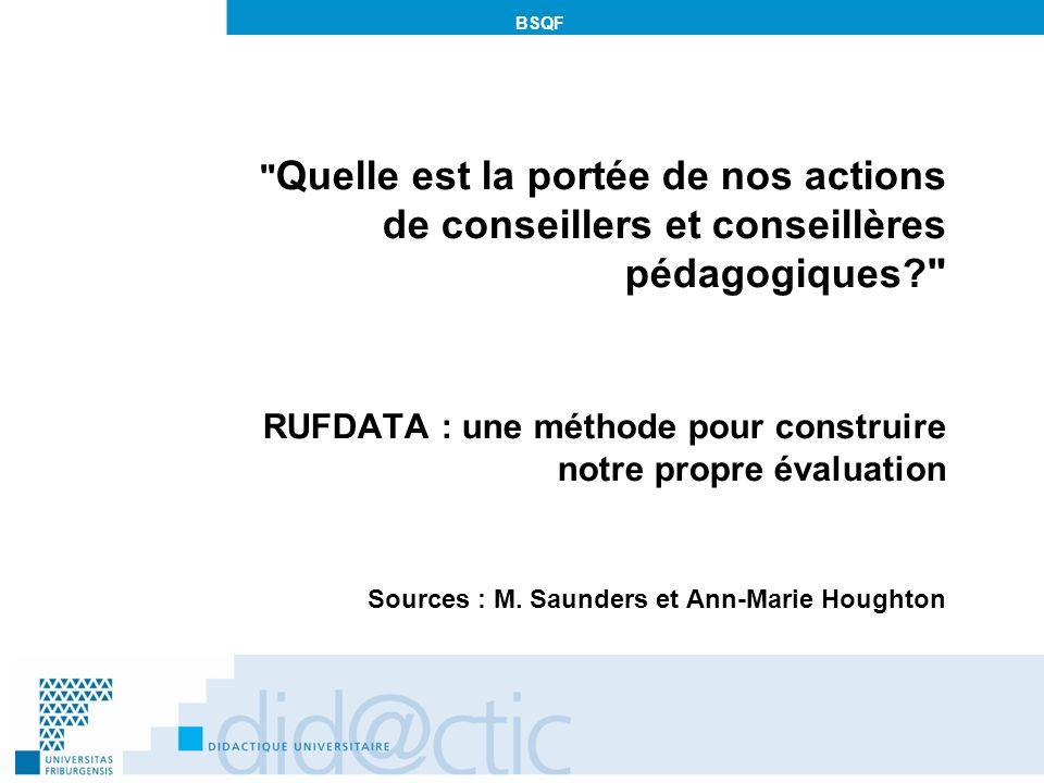 BSQF Quelle est la portée de nos actions de conseillers et conseillères pédagogiques? RUFDATA : une méthode pour construire notre propre évaluation Sources : M.