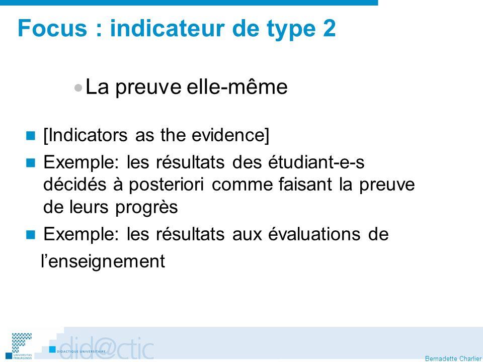 Bernadette Charlier Focus : indicateur de type 2 La preuve elle-même [Indicators as the evidence] Exemple: les résultats des étudiant-e-s décidés à posteriori comme faisant la preuve de leurs progrès Exemple: les résultats aux évaluations de lenseignement