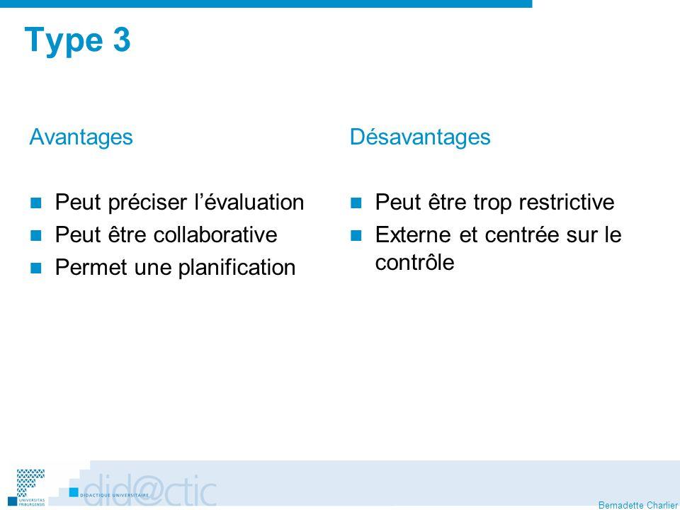 Bernadette Charlier Type 3 Avantages Peut préciser lévaluation Peut être collaborative Permet une planification Désavantages Peut être trop restrictive Externe et centrée sur le contrôle