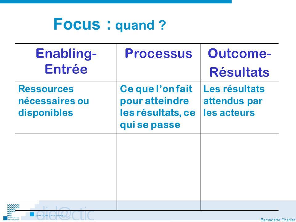 Bernadette Charlier Focus : quand .