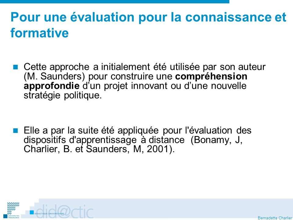 Bernadette Charlier Pour une évaluation pour la connaissance et formative Cette approche a initialement été utilisée par son auteur (M.