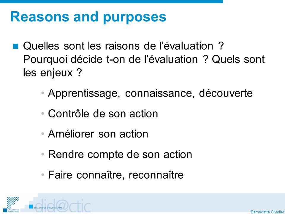 Bernadette Charlier Reasons and purposes Quelles sont les raisons de lévaluation .