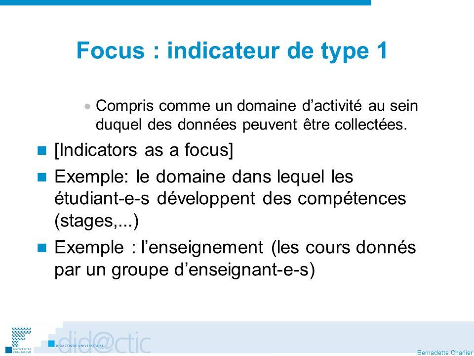 Bernadette Charlier Focus : indicateur de type 1 Compris comme un domaine dactivité au sein duquel des données peuvent être collectées.