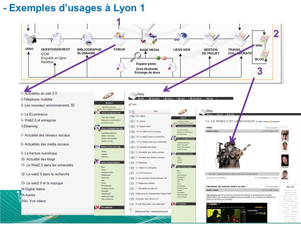 - Exemples dusages à Lyon 1 1 2 3