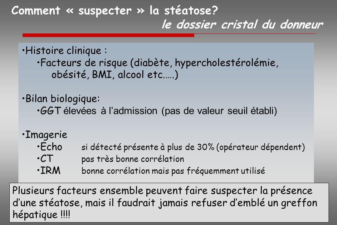 Comment « suspecter » la stéatose? le dossier cristal du donneur Histoire clinique : Facteurs de risque (diabète, hypercholestérolémie, obésité, BMI,