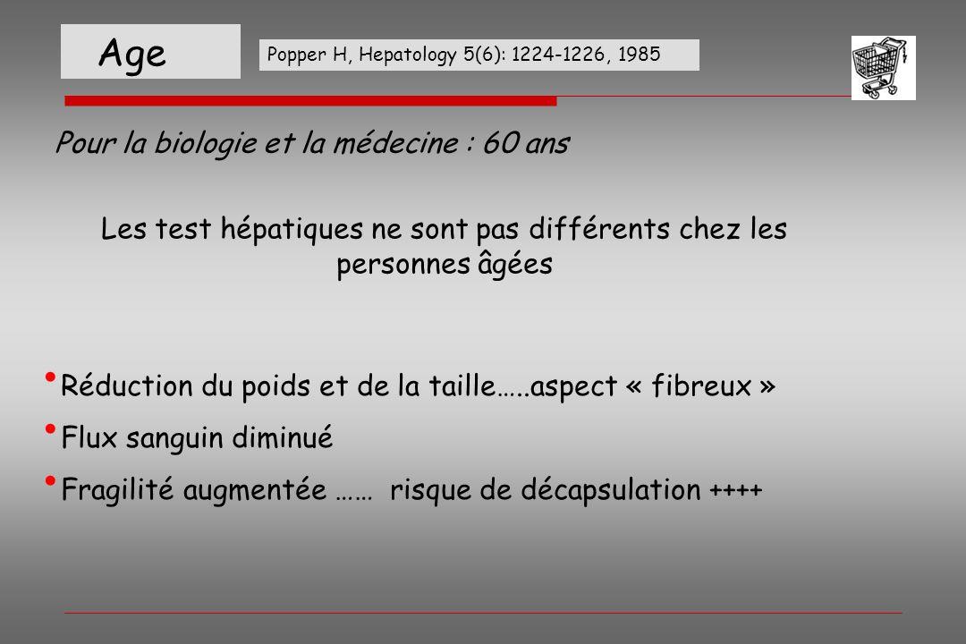 Age Pour la biologie et la médecine : 60 ans Réduction du poids et de la taille…..aspect « fibreux » Flux sanguin diminué Fragilité augmentée …… risqu