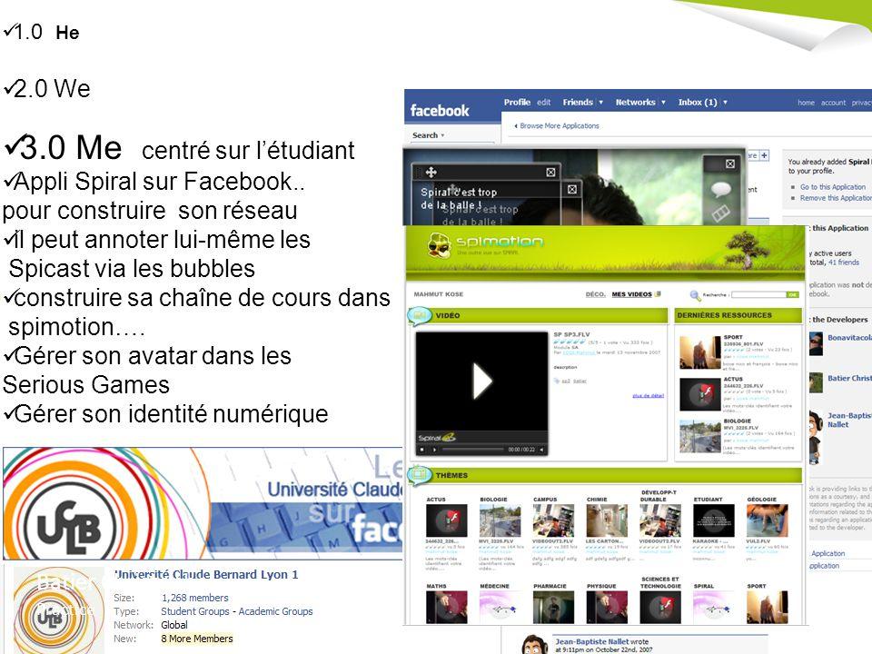 5 ème Journée SPIRAL - Mardi 8 Juillet 2008 - Université Lyon 3 Manufacture des Tabacs Batier Christophe Practice 1.0 He 2.0 We 3.0 Me centré sur létudiant Appli Spiral sur Facebook..