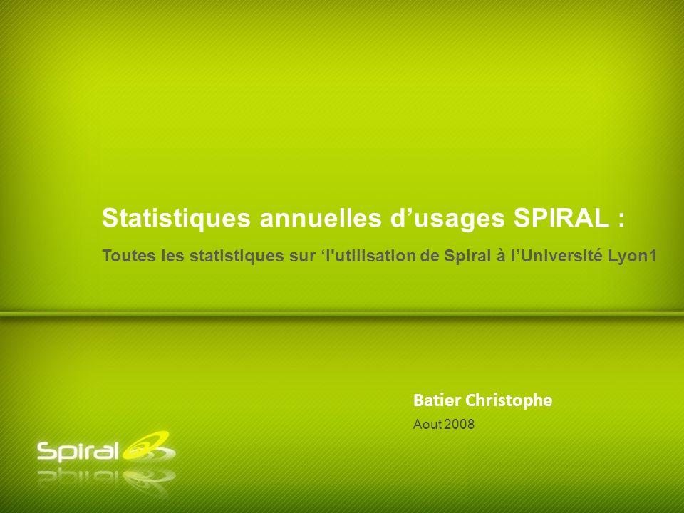 Batier Christophe Toutes les statistiques sur l utilisation de Spiral à lUniversité Lyon1 Statistiques annuelles dusages SPIRAL : Aout 2008
