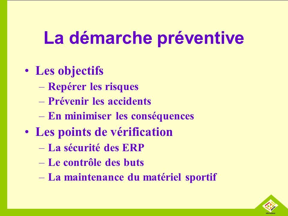 La démarche préventive Les objectifs –Repérer les risques –Prévenir les accidents –En minimiser les conséquences Les points de vérification –La sécurité des ERP –Le contrôle des buts –La maintenance du matériel sportif