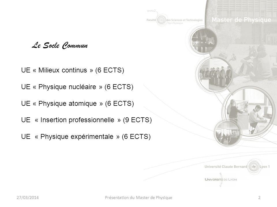 27/03/2014Présentation du Master de Physique2 UE « Milieux continus » (6 ECTS) UE « Physique nucléaire » (6 ECTS) UE « Physique atomique » (6 ECTS) UE « Insertion professionnelle » (9 ECTS) UE « Physique expérimentale » (6 ECTS) Le Socle Commun