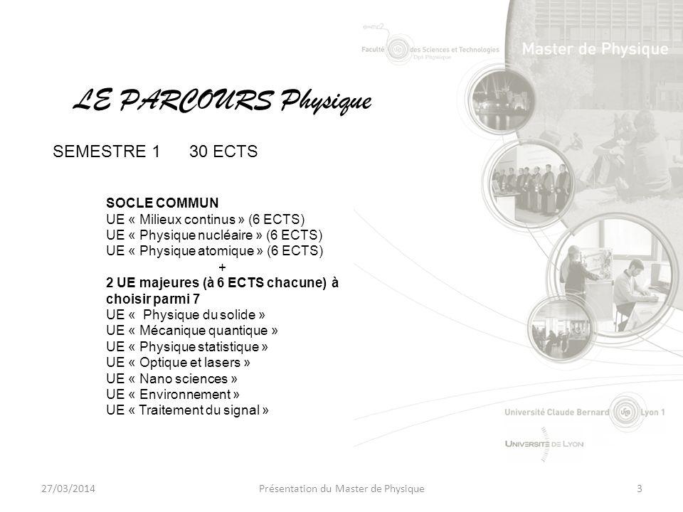 27/03/2014Présentation du Master de Physique3 SOCLE COMMUN UE « Milieux continus » (6 ECTS) UE « Physique nucléaire » (6 ECTS) UE « Physique atomique » (6 ECTS) + 2 UE majeures (à 6 ECTS chacune) à choisir parmi 7 UE « Physique du solide » UE « Mécanique quantique » UE « Physique statistique » UE « Optique et lasers » UE « Nano sciences » UE « Environnement » UE « Traitement du signal » LE PARCOURS Physique SEMESTRE 130 ECTS