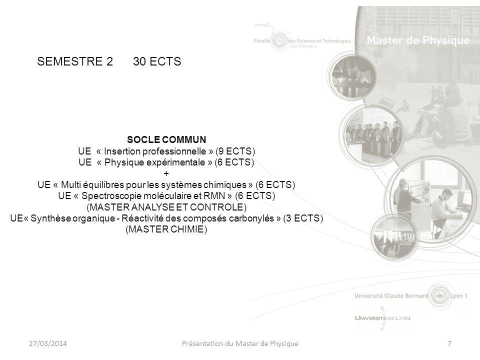 27/03/2014Présentation du Master de Physique7 SOCLE COMMUN UE « Insertion professionnelle » (9 ECTS) UE « Physique expérimentale » (6 ECTS) + UE « Multi équilibres pour les systèmes chimiques » (6 ECTS) UE « Spectroscopie moléculaire et RMN » (6 ECTS) (MASTER ANALYSE ET CONTROLE) UE« Synthèse organique - Réactivité des composés carbonylés » (3 ECTS) (MASTER CHIMIE) SEMESTRE 230 ECTS