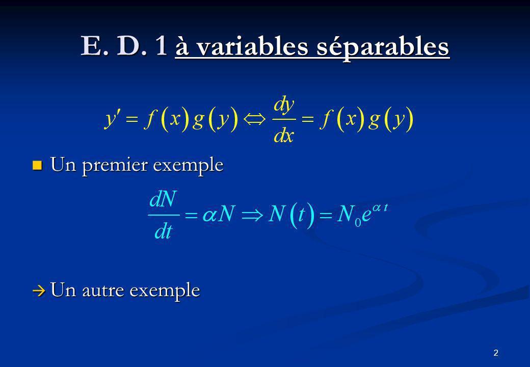 2 E. D. 1 à variables séparables Un premier exemple Un premier exemple Un autre exemple Un autre exemple